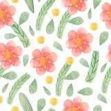 Watercolor cute ornate flowers seamless pattern. Flourish background in decorative style. Colorful flowers, petals and natural royalty free illustration