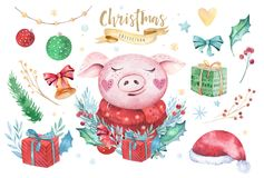 Watercolor cute Pig symbol 2019 illustration. Isolated funny cartoon ping animal Happy Chinese New Year piggy art. Watercolor cute Pig symbol 2019 illustration stock illustration