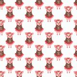 Watercolor cute pigs characters set isolated on white background stock illustration