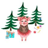 Watercolor cute pigs characters and christmas trees isolated on white. perfect for your design. stock illustration