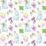 Watercolor cute rabbits seamless pattern in pastel colours. Hand painted baby bunny with cake and spring flowers on white royalty free illustration