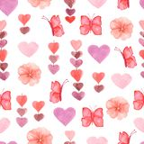Watercolor cute seamless pattern with flowers, hearts and butterflies in pink,red and violet colors royalty free illustration