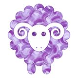 Watercolor cute Sheep. Watercolor painted cute Sheep flat icon vector illustration Stock Images
