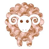 Watercolor cute Sheep. Watercolor painted cute Sheep flat icon vector illustration Royalty Free Stock Images