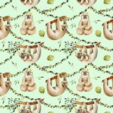 Watercolor cute sloths hanging on the trees seamless pattern