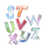 Watercolor 3d font, hand drawn with dye and brush. Abc alphabet Stock Images