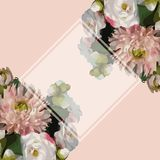 Watercolor 3D realistic romantic flowers bouquet composition peony dahlia rose frame border sample background vector.  royalty free illustration