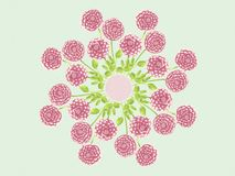 Watercolor Dahlia Flowers Floral Mandala Background Design Illustration Stock Photography