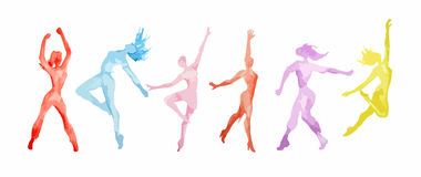 Watercolor dance set. Watercolor dance set on white background. Dance poses. Healthy lifestyle, getting energy vector illustration