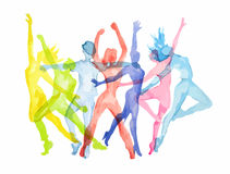 Watercolor dance set. Watercolor dance set on white background. Dance poses. Healthy lifestyle, getting energy stock illustration