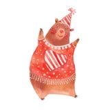 Watercolor dancing bear Royalty Free Stock Image