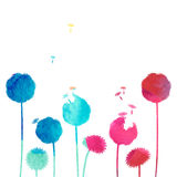 Watercolor dandelion background. On a white background Stock Photo