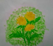 Watercolor dandelions paint floral nature stock illustration