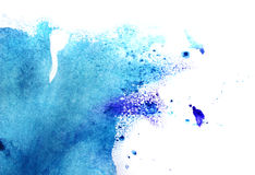 Watercolor. Dark blue and light blue abstract watercolor painting Royalty Free Stock Images