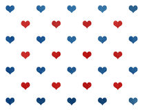 Watercolor dark blue and red hearts on white background pattern. Stock Image