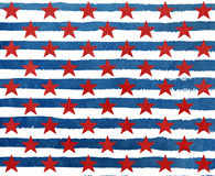 Watercolor dark blue stars on grunge watercolor red stripes. Stock Image