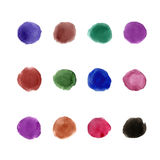 Watercolor dark palette 12 color circles Stock Photos