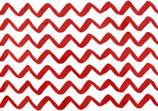 Watercolor dark red hand painted stripes on white background, chevron Stock Photos