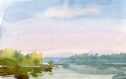 Watercolor dawn. Watercolor drawing of the sunrise over the lake Royalty Free Stock Photo