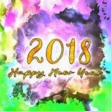 Watercolor/2018 de bonne année Photographie stock
