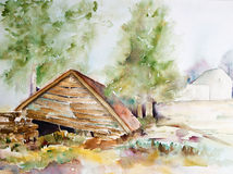 Watercolor of a declined old barn Stock Photos