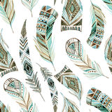 Watercolor decorated tribal feathers seamless pattern royalty free illustration