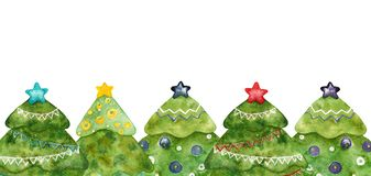 Watercolor decorative Christmas trees. Color frame. stock image