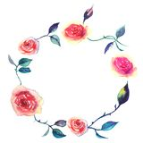 Watercolor decorative elements - wreath with rose Royalty Free Stock Photos
