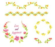 Watercolor decorative elements with yellow and pink flowers. Watercolor decorative elements and boarders with yellow and pink flowers Royalty Free Illustration