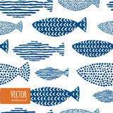 Watercolor decorative fishes patten. Royalty Free Stock Image