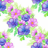 Watercolor decorative seamless background with a composition of anemone and cosmos flowers. Vector colorful pattern Royalty Free Stock Images