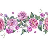 Watercolor decorative vintage pink roses seamless border Stock Image