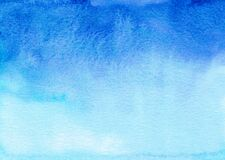 Free Watercolor Deep Blue And White Gradient Background. Watercolour Cerulean Ombre Backdrop Texture Royalty Free Stock Photo - 193239135
