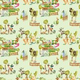 Watercolor deers, foxes and birds at the zoo seamless pattern. Hand drawn on a green background vector illustration