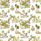 Watercolor deers, foxes and birds at the zoo seamless pattern. Hand drawn on a white background royalty free illustration