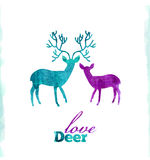 Watercolor deers love, artistic card Stock Image