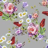 Watercolor delicate bouquet. Hand painted flowers seamless pattern on a gray background. Watercolor floral  handmade illustration compliments prize decorative Stock Image