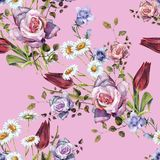 Watercolor delicate bouquet. Hand painted flowers seamless pattern on a pink background. Watercolor floral  handmade illustration compliments prize decorative Stock Photography