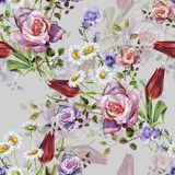 Watercolor delicate bouquet with shade . Hand painted flowers seamless pattern on a gray  background. Watercolor floral  handmade illustration compliments prize Royalty Free Stock Photography