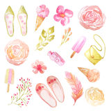 Watercolor delicate pink flowers and leaves Royalty Free Stock Photos