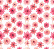 Watercolor Delicate Pink Flowers Seamless Repeat Pattern Stock Image