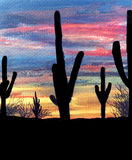 Watercolor desert Stock Photo