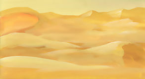 Watercolor desert sand landscape Stock Photos