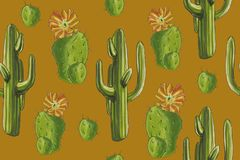 Watercolor desert set `Cacti pattern` orange background. In the wild prairies you will meet these succulents. An excellent pattern for the background. It was Stock Photos