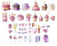 Watercolor deserts set royalty free stock image