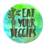 Watercolor design with brush lettering Eat your veggies Stock Images