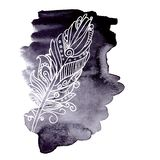 Watercolor design element feather Royalty Free Stock Image