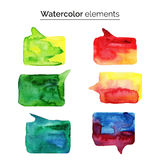 Watercolor design elements. Colorful isolated aquarelle template for speech. Stock Photos