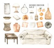Watercolor design elements of modern interior items. Marrocco vibes. Home decor: sofa, mirror, vase, wooden table, pillow, frame,