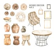 Watercolor design elements of modern interior items. Marrocco vibes. Home decor: vase, wicker chair, wooden table, wicker wall